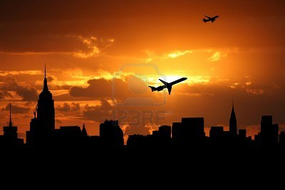 3910092-planes-departing-midtown-manhattan-at-sunset-illustration